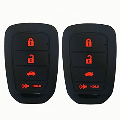 2Pcs Coolbestda Silicone Key Fob Skin Remote Cover Case Keyless Entry Holder Protector for Honda Accord Civic Crosstour CR-V HR-V MLBHLIK6-1TA (Only Fit Straight key fob, Smart Key Fob Not Fit): Automotive
