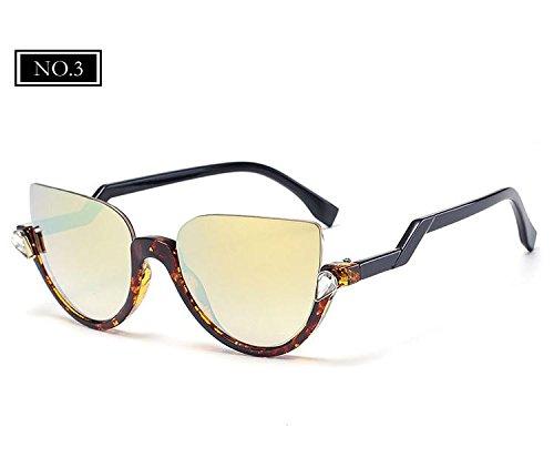 Sonnenbrille Sonnenbrille No3 Vintage Frauen KLXEB Halbrand Spitzen Spiegel Marke Designer Schatten Gläser NO3 Katzenaugen B7t8q