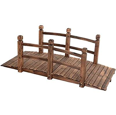 5' Wooden Bridge Solid Fir with Stained Finish Wood Garden Pond Arch Outdoor Walkway Path Structure Backyard Plank Garden Decorative Yard Landscape New