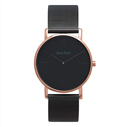 38mm Ultra Thin Slim Case Minimalist Fashion Watch for Men & Women by Byron Bond (Camden - Rose Gold Case with Black Dial and Black Milanese Mesh Strap)