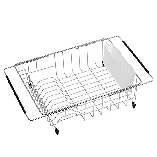 iPEGTOP Expandable Deep & Large Dish Drying Rack, Over the Sink, In Sink Or On Counter Dish Drainer with White Cutlery Caddy Utensil Holder, Rustproof Stainless - White Deep Dish