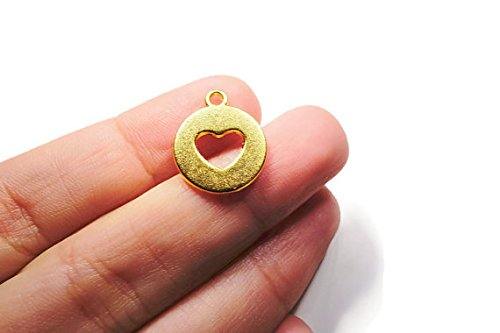 es 22K Gold Plated Cut Out Heart Disc Charms Round Heart 16x14 mm - COCG003 (Cut Out Disc Charm)