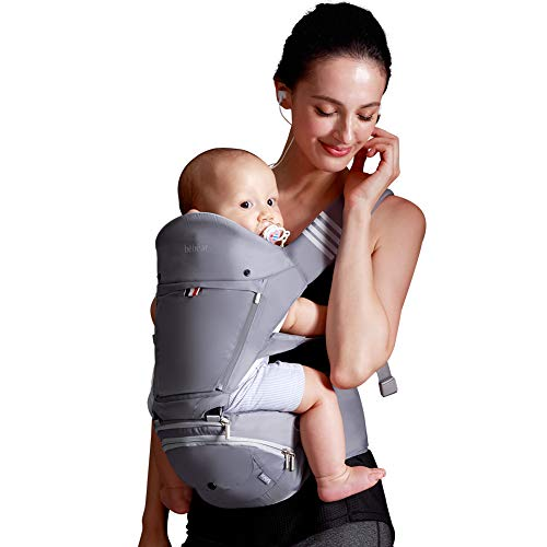 Bebamour Baby Carrier with Hip Seat 6 in 1 Ergonomic Baby Carrier Backpack 0-36 Months (Grey) from bebear