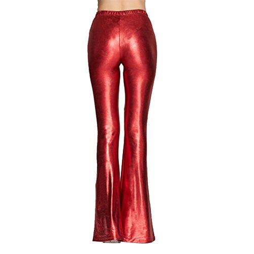 Wide Clubwear Fete Yoga Danse De Pants Plage Leg Bouffant Leggings Pantalon Rouge Cuir Haute A Métallique Patte Trousers Casual Soirée Simili Volant Mode Pour Pantalons D'eléphant Pilates Taille Evase Femme STUqBF