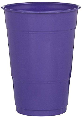 Amscan Ready Reusable Cups Plastic 16 Ounces Pack 20 Childrens Party (200 Piece), Purple