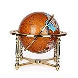 Vintage World Globe Antique Decorative Desktop Globe Rotating Earth Geography Globe Alloy Base,Natural Stones,13 Inches
