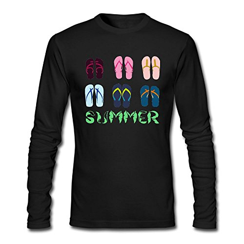colorful Flip Flops Graphic Adults Workout and Training Shirts Vest 100% Cotton Long Sleeve T Shirt