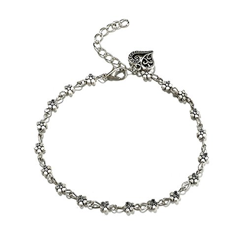 Hollow Retro Silver Plum Flowers Foot Ornaments Peach Heart-Shaped Anklet MINGHUA