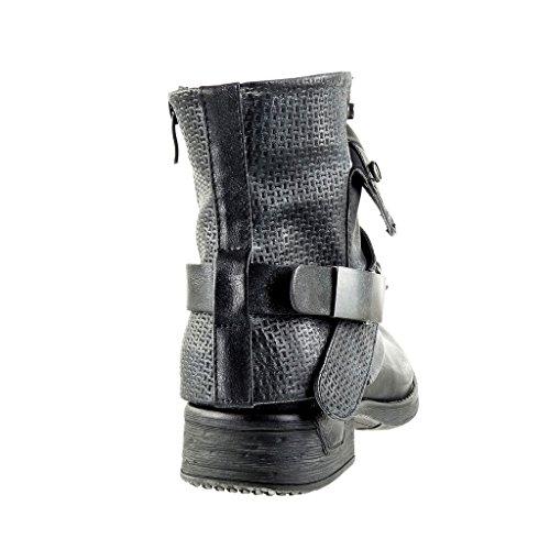Tacco Scarpe Nero materiale Trapuntata Cavalier A Scarponcini Angkorly Camouflage Nodo Blocco Cm 3 Bi Moda Donna Stivaletti P4w1nqda