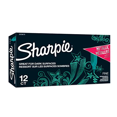 Sharpie Metallic Permanent Markers, Fine Point, Emerald, 12-Count Permanent Marker (2029679)