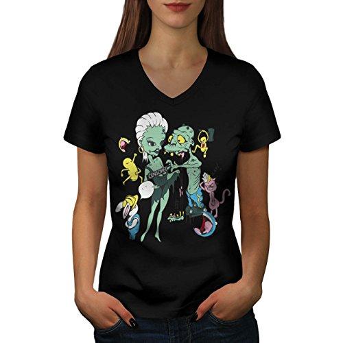 Monster Naked Fun Freaky Night Women M V-Neck T-shirt | (Naked Female Pirates)