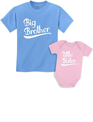 Sibling Shirts Set for Brothers and Sisters Boys & Girls Gift Set Kids Shirt California Blue/Baby Pink Kids Shirt 24M / Baby ()