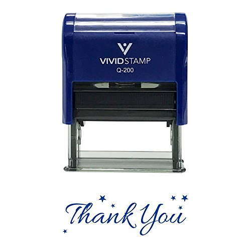 Thank You w/Stars Self Inking Rubber Stamp (Blue Ink) - Medium