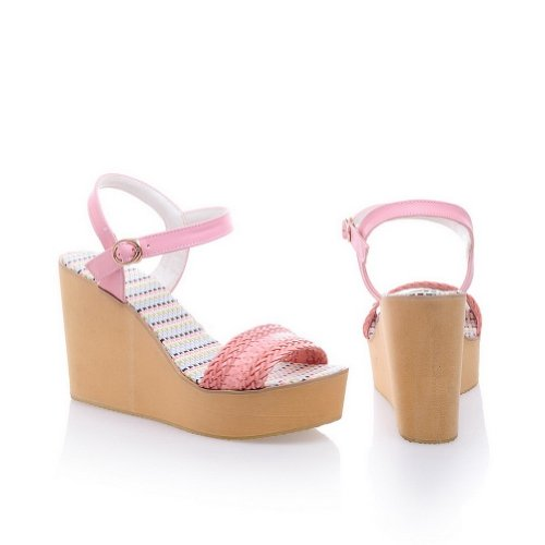 VogueZone009 Womens Open Toe High Heel Platform Wedges Soft Material Assorted Colors Sandals with Buckle Pink