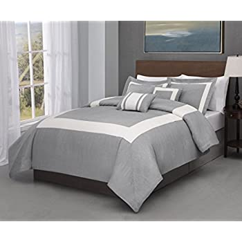 Amazon Com Forte 4 Piece Twin Size Comforter Set Stone