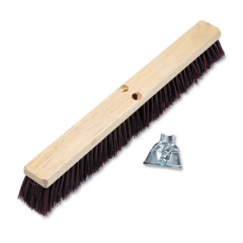 Pro Line Stiff Polypropylene Floor - Floor Brush Head, 3 1/4'' Maroon Stiff Polypropylene, 24'', Sold as 1 Each