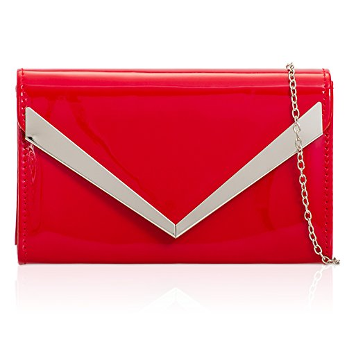 Patent Evening Ladies Zarla Clutch Chain Bridal Bag Party Shoulder Envelope Women Red Prom IWI5pqY