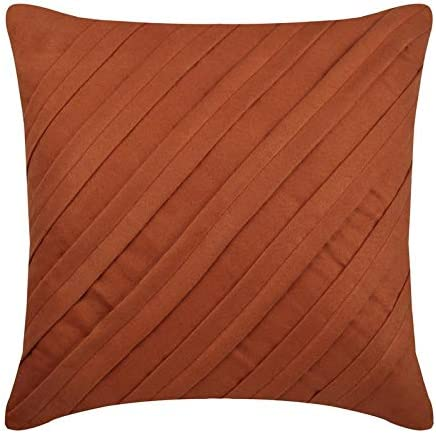 Amazon Com The Homecentric Decorative Rust Pillow Covers 16x16 Inch 40x40 Cm Suede Cushion Cover For Sofa Striped Pintucks Textured Contemporary Designer Pillow Covers Contemporary Rust Home Kitchen