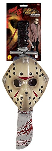 UHC Men's Horror Jason Voorhees Mask w/ Machete Halloween Cotume Accessory