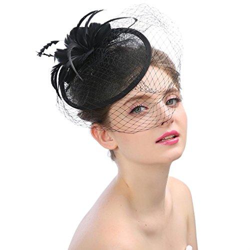 (XILALU Women Kentucky Derby Hats Fascinator Feathers Flower Mesh Tea Party Headdress Victorian Wedding Cap Hat Box (Black))