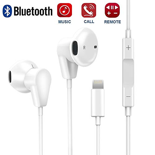 Fourcase Earphones Headphones Compatible with IP 7,Bluetooth Earbuds Headset Wired with Microphone and Remote Control Stereo Noise Cancelling Compatible with IP 8/8Plus,IP 7/7Plus