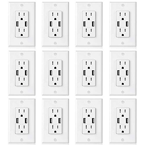 [12 Pack] BESTTEN USB Outlets, 15 Amp Tamper Resistant Receptacles with Dual 3.6A High Speed USB Charging Ports, Decorator Wall Plate Included, UL Listed, White