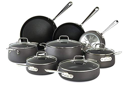 All-Clad E785SB64 HA1 Hard Anodized Nonstick Cookware Set, Pots and Pans Set, 13...