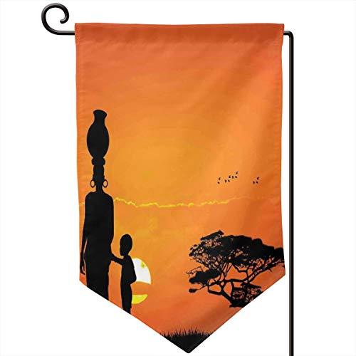 - lsrIYzy Garden Flag,Child and Mother at Sunset Walking in Savannah Desert Dawn Kenya Nature Image,12.5x18.5 inch