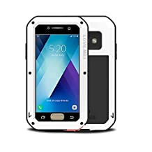 "Samsung Galaxy A520/A5 Metal Case,Shockproof Waterproof Dust/Dirt/Snow Proof Aluminum Metal Gorilla Glass Protection Case forSamsung Galaxy A520/A5 2017(5.2"") (White)"