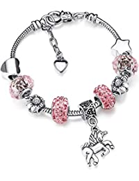 12745be7e Unicorn Sparkly Crystal Charm Bracelet Bangle with Gift Box Set for Girl  Lady