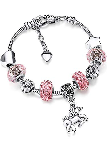 Unicorn Sparkly Crystal Charm Bracelet Bangle with Gift Box Set for Girl Lady (Pink, 16 cm/ 6.3 Inch)