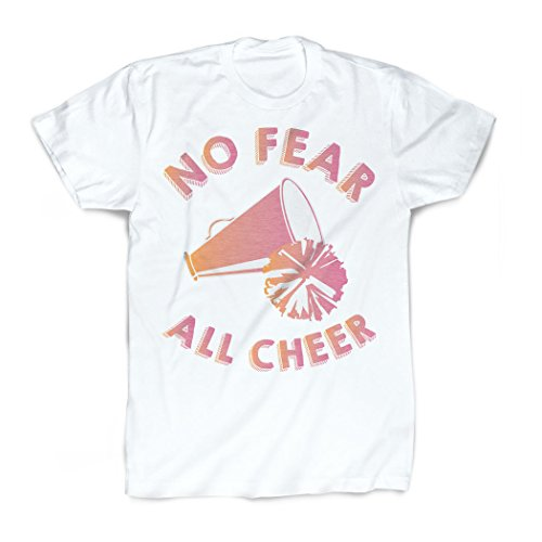 - ChalkTalkSPORTS No Fear All Cheer T-Shirt | Vintage Faded Cheerleading T-Shirt Adult Small White