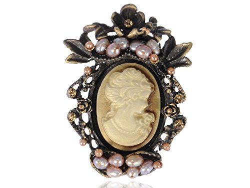 Alilang Antique Golden Tone Peach Faux Pearl Beads Vintage Cameo Lady Brooch Pin