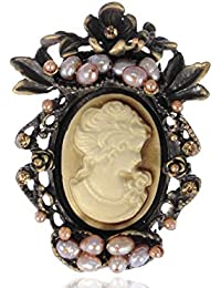 Antique Golden Tone Peach Faux Pearl Beads Vintage Cameo Lady Brooch Pin