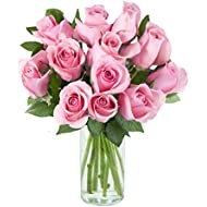 Purchase Now for Delivery by Monday | Arabella Farm Direct Bouquet of 12 Fresh Cut Pink Roses with a Free Glass Vase