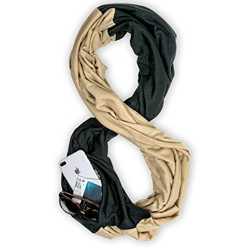 (Stadium Series Scarf by WAYPOINT GOODS // Infinity Scarf w/Secret Hidden Zipper Pocket (Black & Tan))