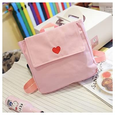 LHWBA Women Backpack Canvas All Seasons Casual Round Zipper Blushing Pink Black