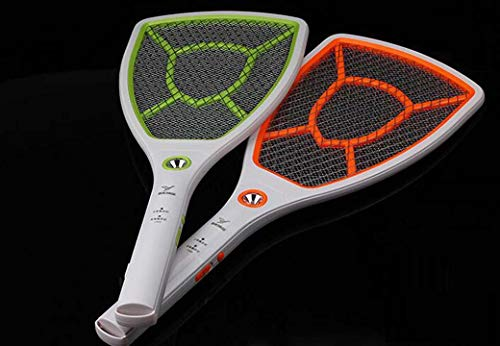 Bug Zapper Racket 2 Pack, LED Charging Electric Fly Swatter, Large Safe to Touch Mesh Net Electric Mosquito Swatters, Random Frame Colors