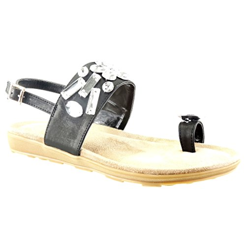 Angkorly - damen Schuhe Sandalen - Offen - Schmuck - String Tanga Keilabsatz 2 CM Schwarz