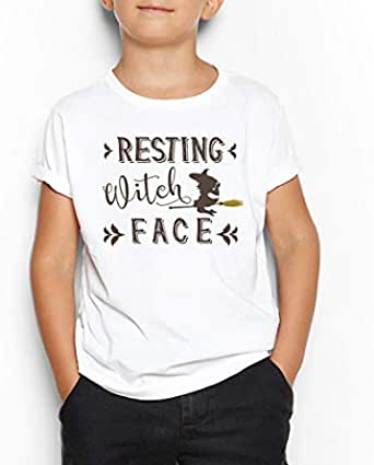 Resting Witch Face Round Neck T-Shirt For Kids 15-16 Years