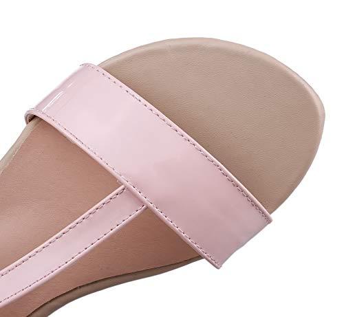 PU Velcro AalarDom Sandales Cuir d'orteil Ouverture Talon Rose Femme Bas TSFLG005990 à 5r8RWnw4q8