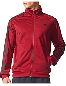 adidas Men's Essentials 3-Stripe Tricot Track Jacket, Collegiate Burgundy/Black, X-Large