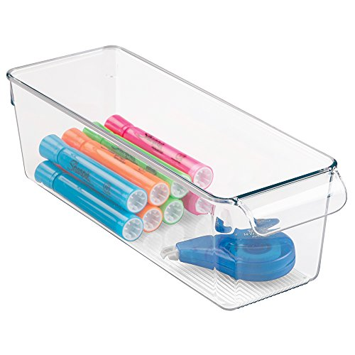 mDesign Office Supplies Desk Cabinet Organizer Bin for Pens, Pencils, Markers, Highlighters, Tape - Small, Clear