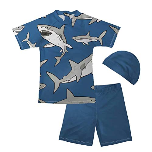 FOR U DESIGNS Baby and Toddler Boys' 2 Piece Swimsuit Trunk and Rashguard Set Shark Print Swimwear with Cap 11-12 ()