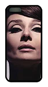 TPU Black Color Soft Case For iPhone 5S Latest style Case Suit iPhone5/5S Very Nice And Ultra-thin Case Easy To Use Audrey Hepburn 159