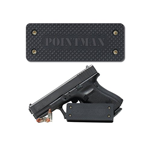 Pointman Magnetic Gun Mount Holster - Strong 35 lb Rated Rubber Encased Magnet With Adhesive Tape & Screws – Heavy Duty Holder For Pistol, Rifle, Shotgun Accessories – Conceal Use (Gun Mount)