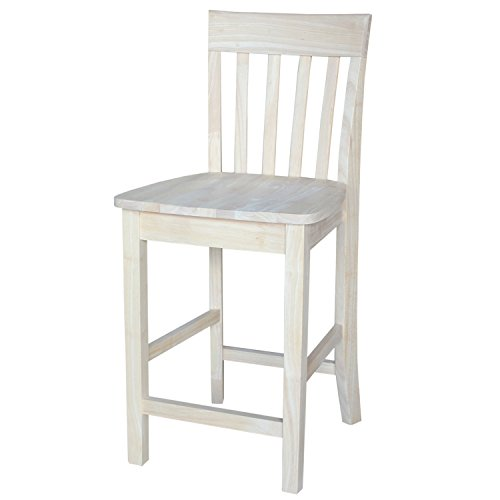 Unfinished Slat Back Counter Stool w Solid Wood Seat