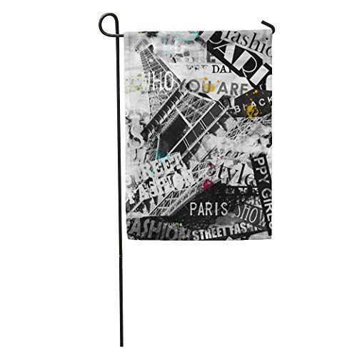 Semtomn Garden Flag Parisian Paris France Vintage Eiffel Tower La Tour in Album Home Yard House Decor Barnner Outdoor Stand 12x18 Inches Flag ()