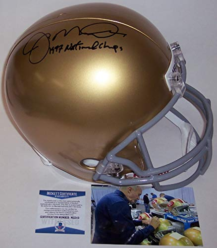 Joe Montana Autographed Hand Signed Notre Dame Fighting Irish Full Size Football Helmet - with 1977 National Champs Inscription - BAS Beckett Authentication