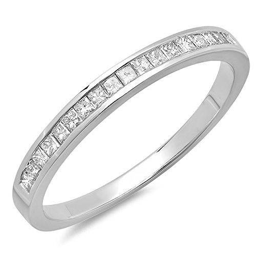 0.25 Carat (ctw) 10K White Gold Princess Cut White Diamond Ladies Anniversary Wedding Band Stackable Ring 1/4 CT (Size (0.25 Ct Invisible Setting)